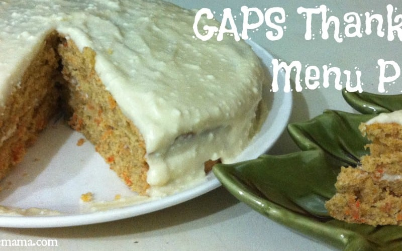 GAPS Thanksgiving Menu Plan