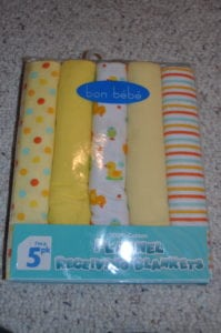 Package of blankets.