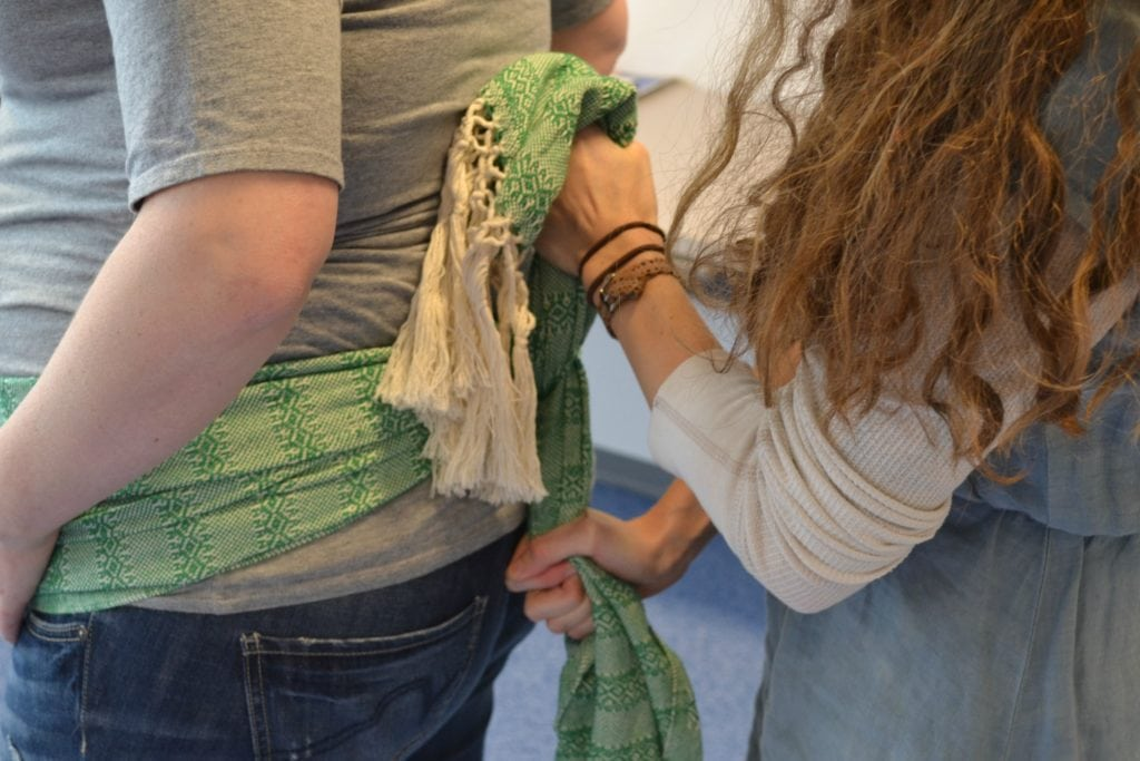 double hip squeeze rebozo during labor